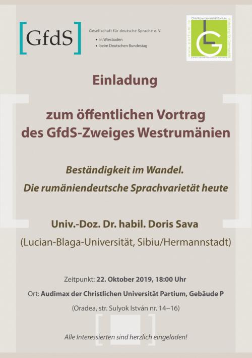 Öffentlicher Gfds Vortrag Univ Doz Dr habil Doris Sava